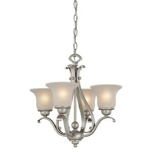 Vaxcel Monrovia 4 Light Mini Chandelier, Nickel/Frosted Seeded Glass - CH35404BN
