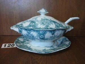 Antique Wood & Son LOIS Semi Porcelain / Pottery Sauce Tureen with Base & Ladle
