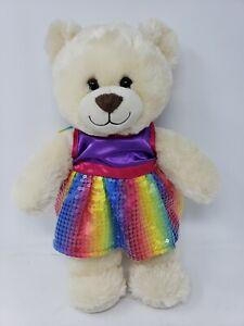 "Build A Bear Vanilla 15"" Teddy with Sequin Purple Rainbow Dress Floral panties"