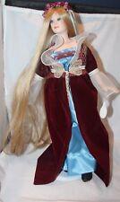 "17"" Porcelain DOLL Paradise Galleries RAPUNZEL long blonde hair  w/ stand"