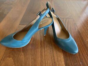 NWOB Nine West Prunellao Teal Green leather heels - 8.5 Back Strap