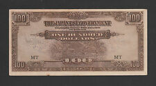 C: Malaya Japanese Occupation $100 (1942) Prefix MT Ink Smear - AUNC