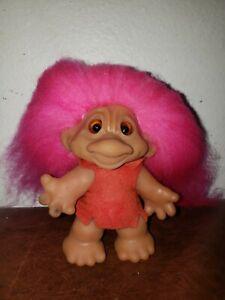 "Vintage TH DAM DESIGN Troll Doll glass EYES, White Hair 4"" Thomas Dam"