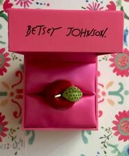 NWOT Betsey Johnson RARE School Of Rock Girl Apple with Swarovski Crystals Ring