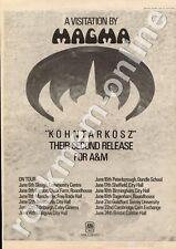 Magma Kohntarkosz AMLS 68260 City Hall, Glasgow MM4 LP/Tour Advert 1974