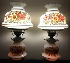 "Pair of ""Gone With The Wind"" Hurricane Lamps,Double-Globe.Yellow Floral. Vintage"