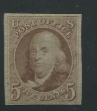 1875 United States Postage Stamp #3 Mint Hinged F/Vf