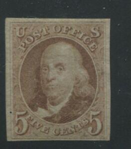1875 United States Postage Stamp #3 Mint Hinged F/VF