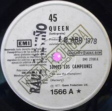 """QUEEN 7"""" SINGLE WE ARE THE CHAMPIONS RARE ARGENTINA PROMO EDIT LABELS IN SPANISH"""