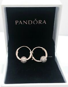 New Authentic PANDORA Rose 14k Gold Sparkle Pave Bead Hoop Earrings 288294CZ