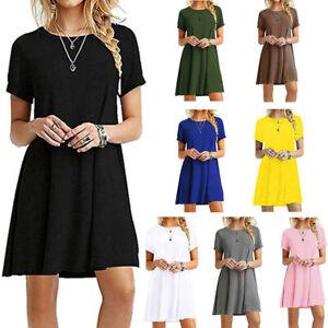 Women Crew Neck Short Sleeve Dress Solid Casual Ball Gown Loose Ruffle Hem Dress