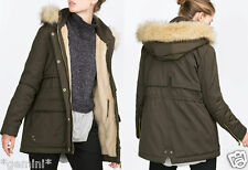 ZARA SIZE M L 38 40 MANTEL JACKE PARKA COAT JACKET QUILTED WATER PROOF FUR HOOD