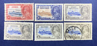 WW SILVER JUBILEE STAMP LOT, MINT/USED KING STAMPS FROM 6 DIFFERENT COUNTRIES