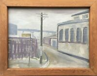 Ölgemälde Strassenecke mit Mast Stadtansicht Expressiv 37 x 47 cm