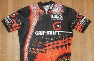 LOUIS GARNEAU Grip Shift Cycling Jersey Mens Medium Black Red Bicycle