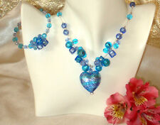 REAL Murano Glass Heart Necklace & Free Bracelet Italian Made - Caviar Blue