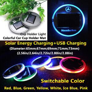 1pcs Solar Energy Coaster Car LED Light Lamp Accessories For Benz Lights Parts