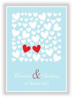 Geschenkidee zur Hochzeit - Kunstdruck Bild mit Namen und Datum des Brautpaares