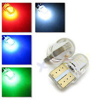 UK x2 SILICONE COB T10 W5W 501 RED, BLUE, GREEN or WHITE LED BULB 12v