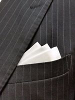 just slip in pocket POCKET SQUARE Ivory Satin Flat Top CUSTOM Prefolded /& Sewn