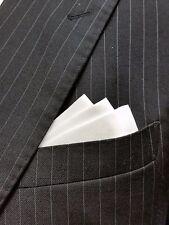 POCKET SQUARE - WHITE SATIN WING - custom folded & sewn- just slips in pocket