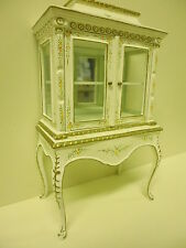 Quality 12th Dolls House Furniture Glass Display Cabinet white   JaiYi 8103-01