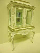 Quality 12th Dolls House Furniture Glass Display Cabinet White JaiYi 8103-01
