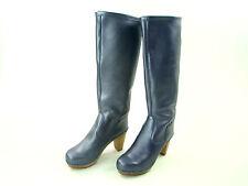 SANITA Langschaft Stiefel 40 NEU Leder Lederstiefel Holz Clog blau metallic 5803