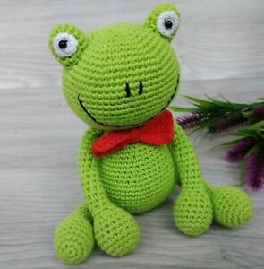 Crochet Frog Handmade Amigurumi Frog Toy Green Frog Stuffed Animal Frog Doll