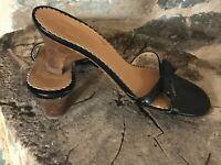 Marc Jacobs Black Leather Bow Sandals Kitten Heel Slides Shoes 8 M