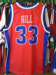 DETROIT PISTONS NBA CHAMPION BASKETBALL VEST JERSEY SHIRT TOP MEDIUM #33 HILL