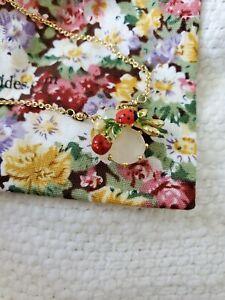 Les Nereides Handmade Enamel Strawberry, Ladybug Adjustable Necklace, Gold NEW