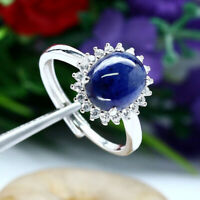 NATURAL 8 X 10 mm. BLUE SAPPHIRE & WHITE CZ RING 925 STERLING SILVER SZ 9