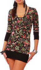 Womens Multicoloured Floral Mini Dress Stretchy Bodycon Tunic with Print 3016