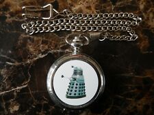 DALEK FROM DOCTOR WHO CHROME POCKET WATCH WITH CHAIN (NEW)