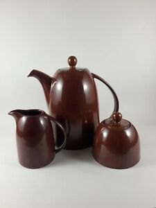 Gourmet Expressions 3 pc Stoneware Tea Set - Sienna Copper Colored - Used