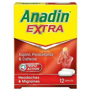 ANDIN EXTRA TRIPLE ACTION 12 CAPLETS PAIN RELIEF HEADACHES MIGRAINES FEVER COLD