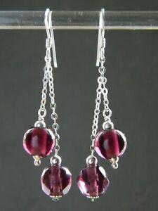 Vintage Art Deco Purple Glass Beads, Solid 925 Sterling Silver Handmade Earrings