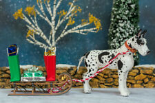 Dollhouse Miniature Standing Harlequin Great Dane Artist Flocked OOAK Dog 1:12