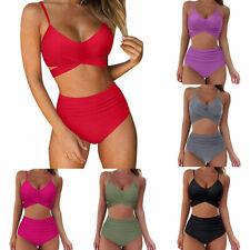 Women's Sexy Soild Print Bikini Set Push Up Bathing Swimwear High Waist Swimsuit