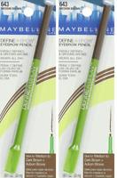 Maybelline New York Define-A-Brow Eyebrow Pencil, 643 Medium Brown (2 Pack)