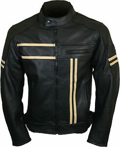 Men's Motorcycle Black Sports Bikers Fashion Motorbike Genuine Leather Jacket