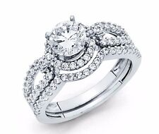 14K White Gold 2 Ct Round Cut Diamond Solitaire Engagement Bridal Ring Set