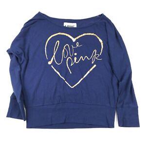 Victorias Secret PINK Knit Top Size L Blue Dolman Long Sleeve Cotton Blend Shirt