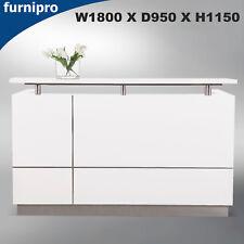 Modern Design Office Reception Desk Counter High Gloss White W1800*D950*H1150mm