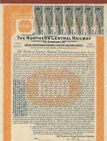 5% Gold Bond Northern Central Railway 1.000 $ Anleihe von1924 mit Coupons 94-100
