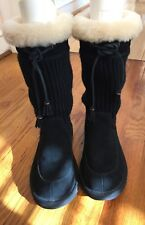 UGG Suburb nubuck/knit boots. Black. Sz 5 youth (fits women's 6.5-7). GREAT!!!