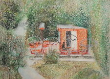 Vintage expressionist cityscape pastel painting