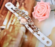 New arrived punk style Women plating gold multicolor leather acrylic chain Watch