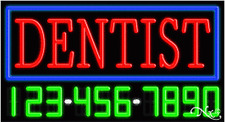 """NEW """"DENTIST"""" W/YOUR PHONE NUMBER 37x20 NEON SIGN W/CUSTOM OPTIONS 15062"""